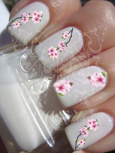 Nail Art Cherry Blossoms Japanese Tree Sakura Nail Water Decals Transfers Wraps by SWNails on Etsy https://www.etsy.com/listing/215253169/nail-art-cherry-blossoms-japanese-tree