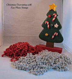 Christmas Tree Bead Garland Strings Red Silver by EauPleineVintage