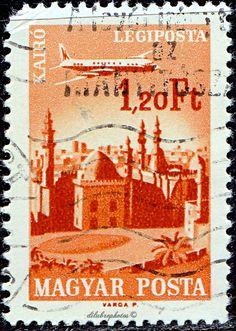 Hungary.  Plane over Cairo.  Plane over Cities Served by Hungarian Air- lines.  Scott C266 AP73, Issued 191.66-67, Photo., Perf. 12 x 11 1/2, 1.20. /ldb.