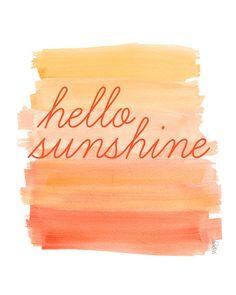 Hello Sunshine Orange Watercolor Ombre by OutsideInArtStudio Parking Spot Painting, Sunshine Wallpaper, Orange Ombre, Orange Yellow, Sunshine Quotes, Hello Sunshine, Travel Makeup, Happy Colors, Beautiful