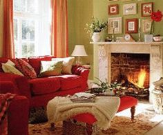 Interior Decorating with Simple Fall Decorations that Improve Mood Red Couch Living RoomColors For Living RoomGreen