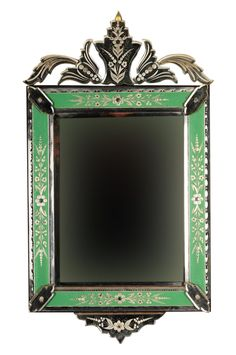Original vintage Venetian mirror with beautiful green etched frame. Circa 1930s.  This piece has exquisite detail and design!