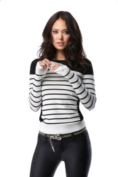 Black & white stripes with faux leather = perfection! #bebe #fashion