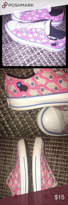 Converse No Lace Black Sheep Super Cute 💕 Black sheep  No lace Converse(just slip on and go) Good used condition pink/baby blue/white Converse Shoes Sneakers