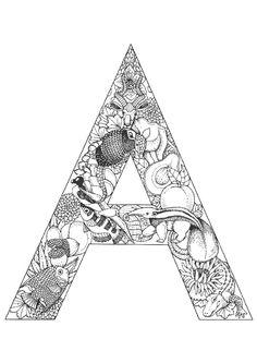 Le première lettre de l'alphabet avec des animaux dessinés à l'intérieur, à colorier