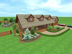 acreage landscaping ideas - Google Search; like the planters/sidewalk details