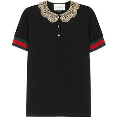 41e469c5b8b Womens Short-Sleeved Tops Gucci Black Lace-collar Cotton Polo Shirt ( 430)  ❤ liked on Polyvore featuring tops