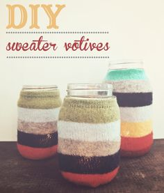 DIY Sweater-Wrapped Candle Holders