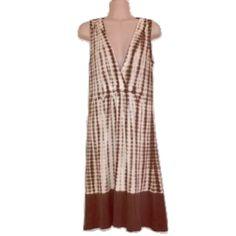 "Michael Kors Sz S Green/Brown V Neck Dress Length 38 1/2"" Bust 32-34 Green Brown Tan sleeveless dress. 100% Cotton ❗️Faded, this dress is pre owned.❗️ MICHAEL Michael Kors Dresses"