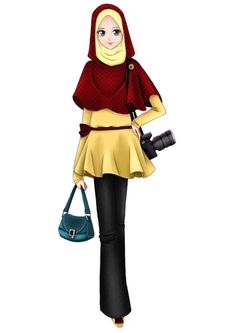 Trendy Muslimah Anime Hijab Cartoon Drawing Muslim Fashion