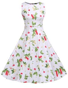 ACEVOG Vintage 1950's Floral Spring Garden Party Picnic Dress Party Cocktail Dress: Amazon Fashion
