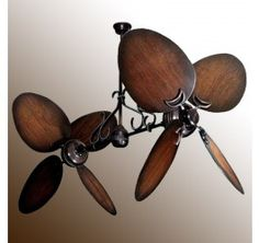 Bronze dual ceiling fan with 50 distressed walnut large oval blades weathered brick twin star ii 50 oval distressed walnut blades shown with optional mozeypictures Choice Image