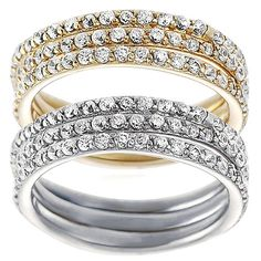 Journee Collection Sterling Silver Cubic Zirconia Bridal Ring 3-piece Set (Gold- 9), Women's, Yellow