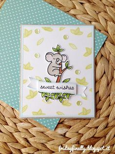 Lawn Fawn - Critters Down Under, Milk and Cookies _ sweet card with lovely background stamping by Francesca via Flickr - Photo Sharing!