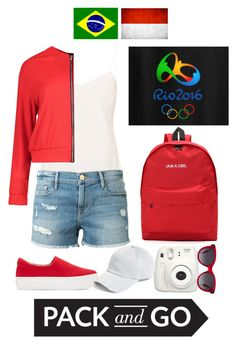 """""""Pack and Go: Olympic 2016 Rio"""" by rezkyna ❤ liked on Polyvore featuring Ted Baker, Boohoo, Frame Denim, Opening Ceremony, Fujifilm, Alexander McQueen and rag & bone"""