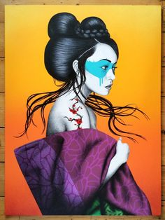 We'll share awesome street art of Fin DAC who is a brilliant and creative artist. Geisha Kunst, Geisha Art, Graffiti Art, Pop Art, Japanese Drawings, Grafiti, Outdoor Art, Mural Art, Public Art