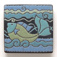 Fish, Ceramic tile, a 4 x 4 inch handmade raku fired art tile For sale on Etsy by Davis Vachon Clay Tiles, Ceramic Clay, Art Nouveau Tiles, Art Deco, Painting Lessons, Art Lessons, Tile Patterns, Textures Patterns, Pottery Courses