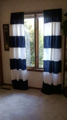 Navy And White Wide Horizontal Stripe Curtain Panels, 44 X 84, Un Lined