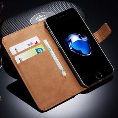 Leather Case For iPhone 7 8 TOMKAS Wallet Flip Style Business Cover Phone Case For Apple iPhone 7 8 Plus Cases - leathernbags