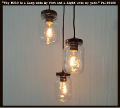 Mason Jar 3-Light Pendant Chandelier New Quart Clear