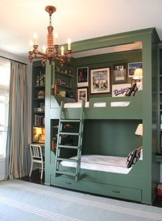 Shared bedroom built in bunk beds - I absolutely love this. It has that special green color that makes me just want to sigh and just gaze at it for awhile. I love the cozy lamps and knickknacks.... wonder how high a ceiling would be needed for this yummy set up? :-)