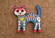 Sugar Skull Cat - Flaked Blue - Magnet
