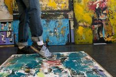 Painting, with feet. Artist Shawn McNulty in his Minneapolis studio. #abstract #art #modern http://www.mndaily.com/article/2016/09/a-canvas-dancefloor