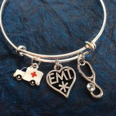 Stethoscope Ambulance And Emt Medical Charm On A Silver Expandable Adjule Bangle Bracelet Paramedic One Size Fits All