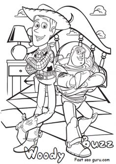 Free printable disney toy story 4 woody and buzz coloring pages for kids.Free print out characters cartoon disney toy story 4 woody and buzz coloring pages for preschool
