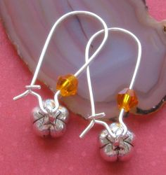 New Tiny Silver Pumpkin Charm Orange Crystal by BusyBeeBumbleBeads, $2.29