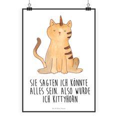 """Poster DIN A2 Einhorn Katze aus Papier 160 Gramm  weiß - Das Original von Mr. & Mrs. Panda.  Jedes wunderschöne Poster aus dem Hause Mr. & Mrs. Panda ist mit Liebe handgezeichnet und entworfen. Wir liefern es sicher und schnell im Format DIN A2 zu dir nach Hause.    Über unser Motiv Einhorn Katze  Ganz nach dem Motto """"Sie sagten, ich könnte alles sein. Also wurde ich Kittycorn!"""" Die wunderbare Einhornkatze von Mr. & Mrs. Panda    Verwendete Materialien  Es handelt sich um sehr hochwertiges…"""