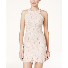 Jump Juniors' Open-Back Sequin Lace Bodycon Dress ($89) ❤ liked on Polyvore featuring dresses, blush, pink bodycon dress, pink dress, sequin lace dress, sequin cocktail dresses and open back cocktail dress