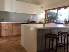 Ikea Ekestad Metod Kitchen with Artedomus INAX Yuki Border tiles. Flooring is Havwoods Pallido Herringbone.