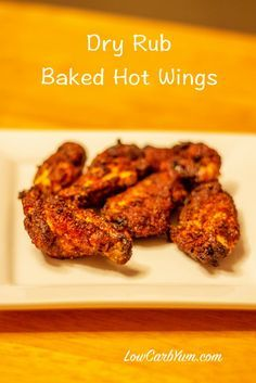 recipe for dry rub hot wings uses a seasoned blend of dry ground peppers which can be made as hot as you like.This recipe for dry rub hot wings uses a seasoned blend of dry ground peppers which can be made as hot as you like. Dry Rub Chicken Wings, Baked Chicken Wings, Chicken Wing Recipes, Dry Rub For Wings, Spanish Chicken Wings Recipe, Oven Baked Wings, Chicken Breasts, Frango Chicken, Dry Rub Recipes