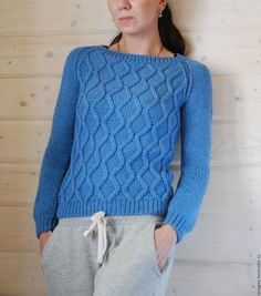 Купить Свитер с объемными ромбами - синий, однотонный, свитер вязаный, ромбы, реглан, ручная работа