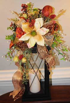 Creamy Magnolia Lantern Swag by FieldstoneFlorals on Etsy Home Lanterns, Fall Lanterns, Halloween Lanterns, Christmas Lanterns, Lanterns Decor, Christmas Centerpieces, Candle Lanterns, Thanksgiving Decorations, Christmas Wreaths