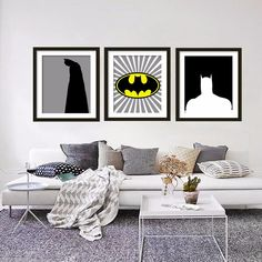 BATMAN, Super Hero Print, Kids Canvas Wall Art, Bat Decor Poster Painting , Dark Knight, Wall Pictures for Living Room no frame