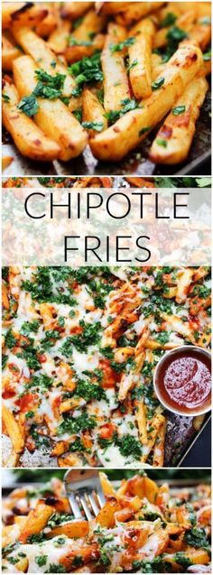 These cheesy Chipotle Fries are made with only a few simple ingredients This is a tasty twist on classic fries that the entire family will love - food_drink Potato Dishes, Potato Recipes, Wedges Potato, Side Dish Recipes, Side Dishes, Rib Recipes, Good Food, Yummy Food, Def Not
