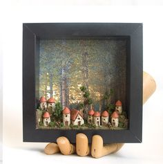 Tiny village scene...LOVE THIS! Although not felted, this lends itself to felting