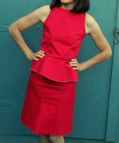 FREE SEWING PATTERN: THE MARIA SET DRESS: Get access to this peplum top and pencil skirt sewing tutorial. Free Sewing Pattern included!