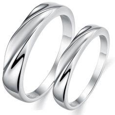 OPK Platinum Plating Simple Wedding Band Couple Promise Rings 1 Pair Best Gift | eBay