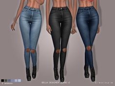 The Sims Resource: Set73 - BELLA Jeans v2 Ripped knees by Cleotopia • Sims 4 Downloads