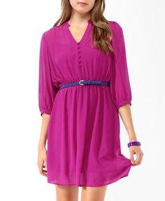 Collared 3/4 Sleeve Dress | FOREVER21 - 2019572179