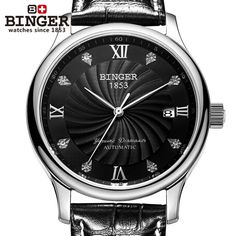 63.75$  Watch now - http://alia7l.shopchina.info/go.php?t=32547315682 - Switzerland BINGER men's watches luxury 18K gold watches Mechanical Wristwatches leather strap Wristwatches B-603M-8  #SHOPPING
