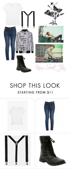 """BTS Jin The Hyph Part 2"" by maknemaddie ❤ liked on Polyvore featuring Monki, ASOS, Hot Topic and Billionaire Boys Club"