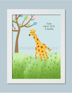 Giraffe Handprint Art  Personalized Baby by CreationsbyTamiLynn, $20.00