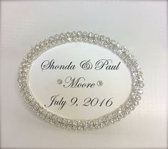 Oval Nameplate, Wedding Sign, Marriage Date, Gift Tag, Rhinestone Edged, Hand Calligraphy, Personalized,
