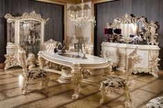 Luxury Dining Room, Dining Table, Dining Sets, Luxury Sofa, Victorian Fashion, Sideboard, Mirror, Chair, Wood