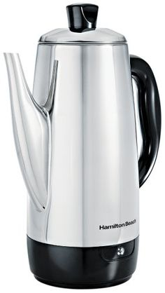 """Housed in heavyweight stainless steel with an attractive chrome mirror finish, this quick-brewing electric percolator makes 12 cups of coffee with super-fast, cup-a-minute speed. When brewing is complete, it automatically switches to a """"keep warm"""" temperature to ensure each cup is as..."""