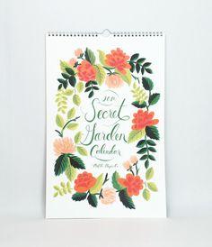 2014 Secret Garden Wall Calendar - Rifle Paper Co - Christmas and Planners - Telegram Paper Goods